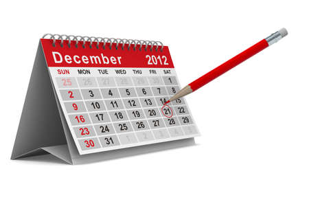 2012 year calendar. December. Isolated 3D image photo