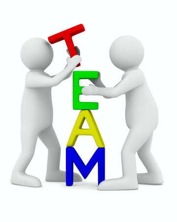 business partnership: Conceptual image of teamwork. Isolated 3D on white Stock Photo
