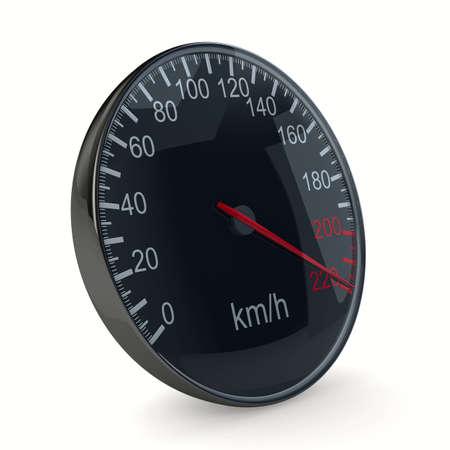indicative: speedometer on white background. 3D image