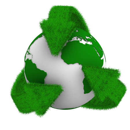 organic waste: recycling arrows and globe. Isolated 3d image Stock Photo
