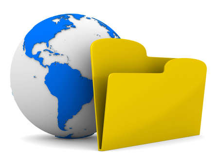 Yellow computer folder and globe on white background. Isolated 3d image photo