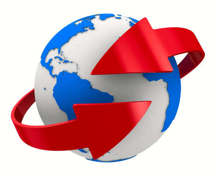 Globe and arrows on white background. Isolated 3D image 스톡 콘텐츠