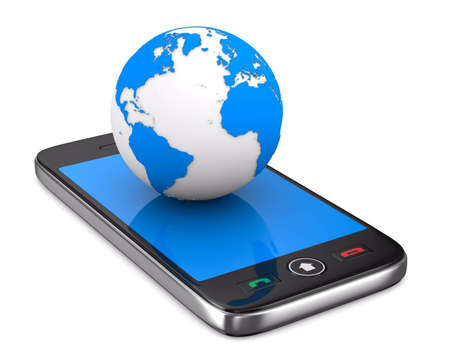 phone and globe on white background. Isolated 3D image photo