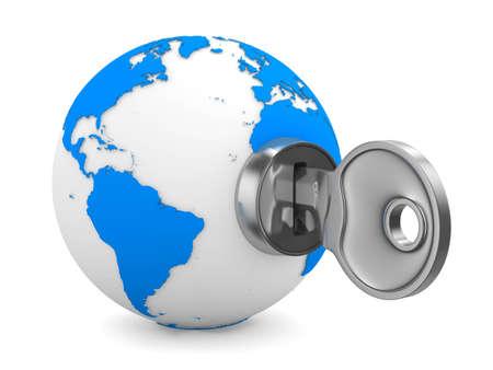 safe world: world and key on white background. Isolated 3D image