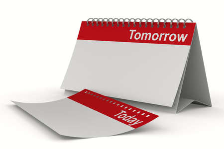 Calendar for tomorrow on white background. Isolated 3D image photo