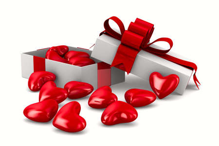 White gift box and hearts. Isolated 3D image photo
