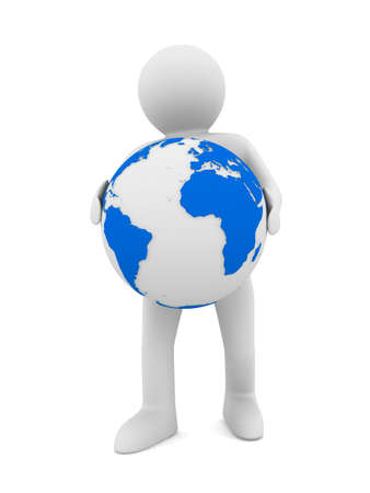 relocate: man and globe on white background. Isolated 3D image
