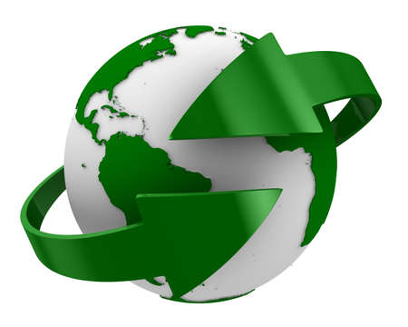 international recycle symbol: Globe and arrows on white background. Isolated 3D image Stock Photo