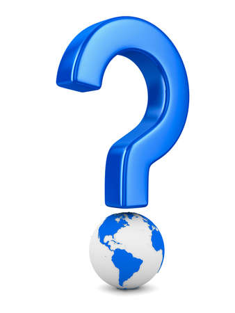 question and globe on white background. Isolated 3D image