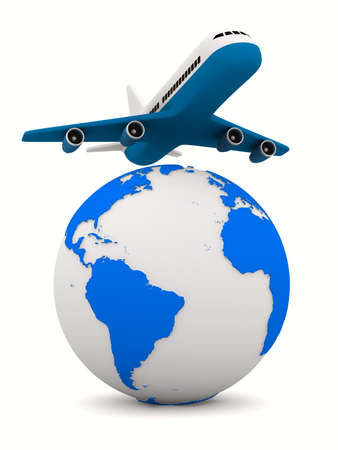 airplane landing: airplane and globe on white background. Isolated 3D image Stock Photo