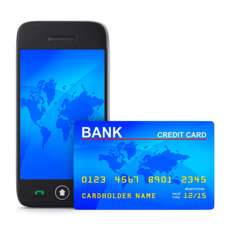 phone and credit card on white background. Isolated 3D image photo