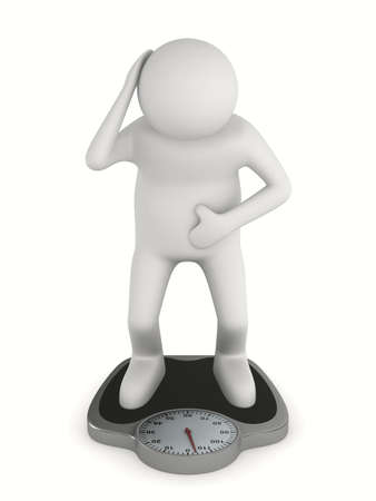 man on floor scales. Isolated 3D image Stock Photo - 11901961