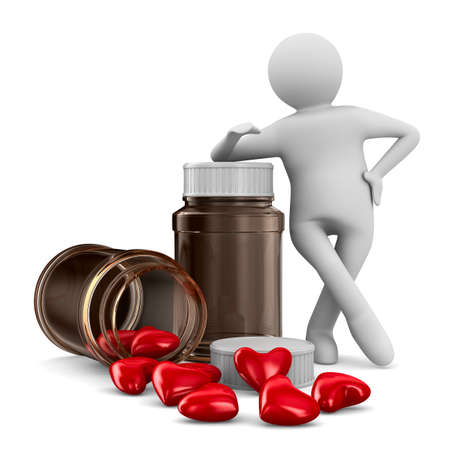 drugstore: Two bottle and hearts on white background. Isolated 3D image