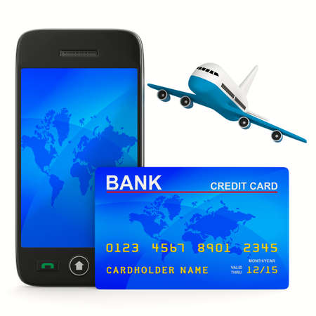 phone and credit card and airplane. Isolated 3D image photo