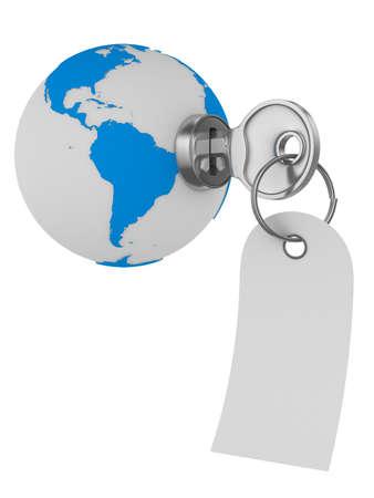 world and key on white background. Isolated 3D image photo