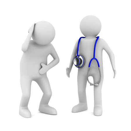 firstaid: doctor and patient on white background. Isolated 3D image