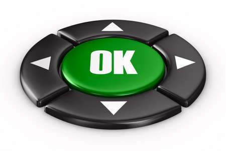 button ok on white background. Isolated 3D image photo