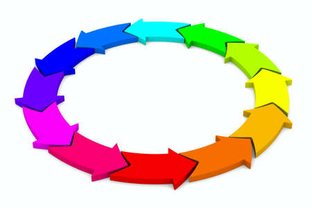 integrate: multicolor arrows on white background. Isolated 3D image