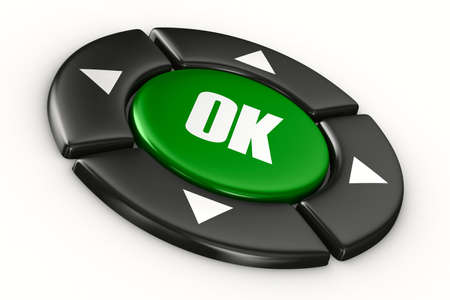 button ok on white background. Isolated 3D image Stock Photo - 12107359