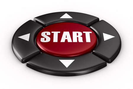 button start on white background. Isolated 3D image photo