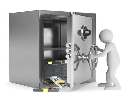combination safe: man and safe on white background. Isolated 3D image Stock Photo