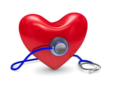 sphygmomanometer: Stethoscope and heart on white background. Isolated 3D image