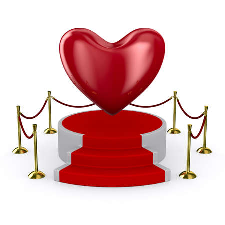 podium and heart on white background. Isolated 3D image  photo
