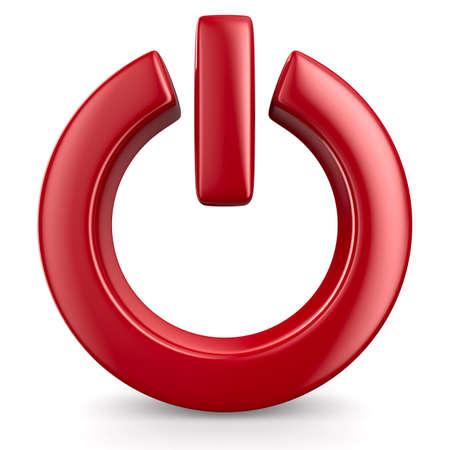 boton on off: poder de signo en el fondo blanco. Aislado imagen en 3D Foto de archivo