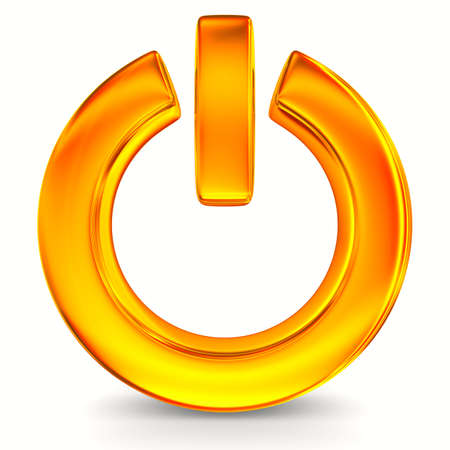 zasilania: Znak moc na białym tle. Izolowane obrazu 3D Zdjęcie Seryjne