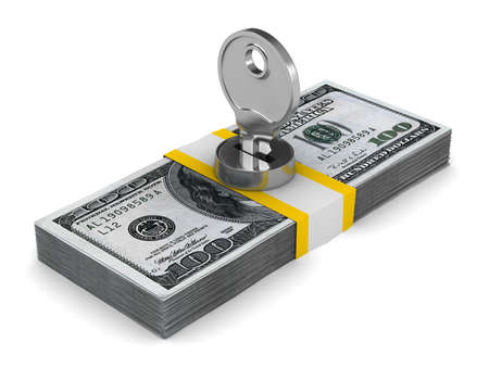 key on pack of dollars. Isolated 3D image photo