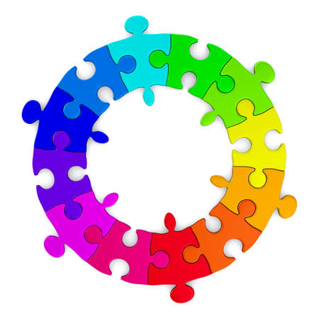 friendship circle: Puzzle on white background. Isolated 3D image