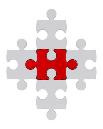 White puzzle and one red. Isolated 3D image photo