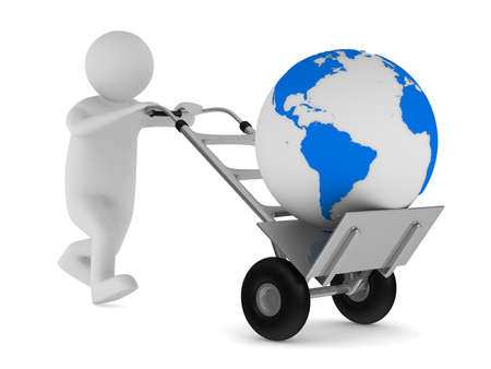 porter: hand truck and globe on white background. Isolated 3D image Stock Photo