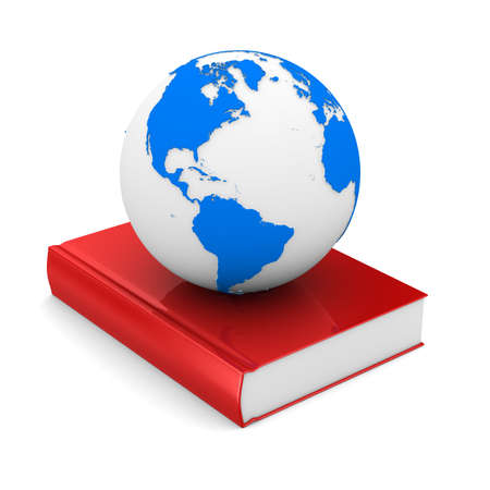 scientific literature: Closed book and globe on white background. Isolated 3D image