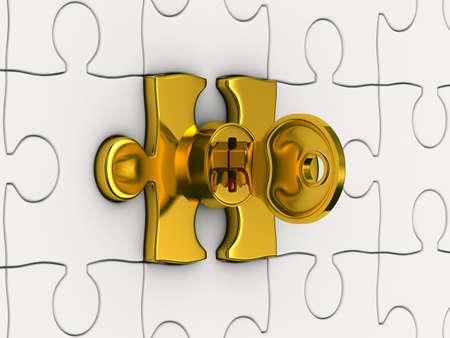 키와 퍼즐. 3D 이미지 스톡 콘텐츠 - 12379975
