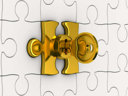 Puzzle with key. 3D image