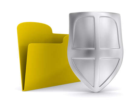 data sheet: Yellow computer folder with shield. Isolated 3d image