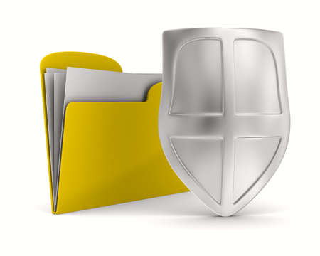 buckler: Yellow computer folder with shield. Isolated 3d image