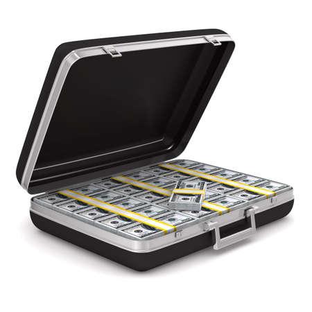 Koffer met geld op een witte achtergrond. geïsoleerde 3D-beeld Stockfoto - 12379987