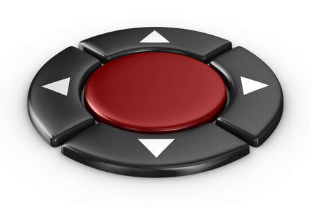 red button on white background. Isolated 3D image photo