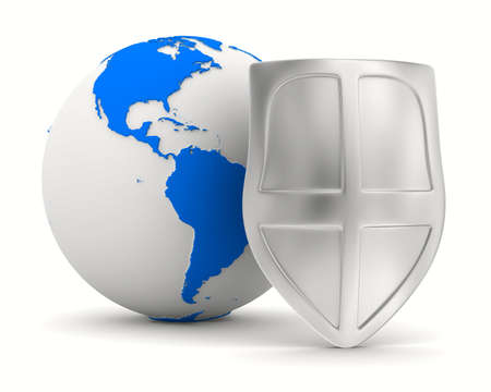 globe and shield on white background. isolated 3D image Stock Photo - 12379985