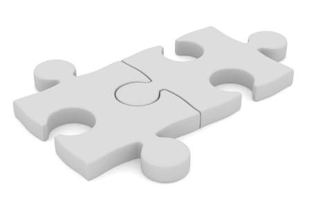 2 objects: Puzzle on white background  Isolated 3D image