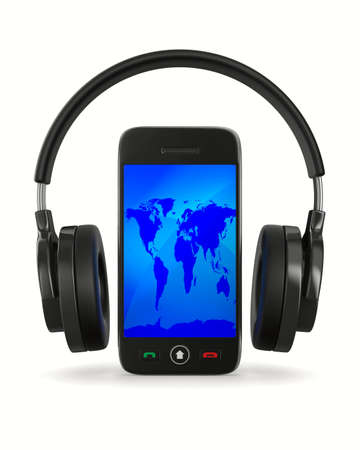 phone and headphone on white background  Isolated 3D image photo