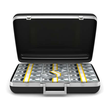 Case with money on white background  isolated  3D image Stock Photo - 12583212