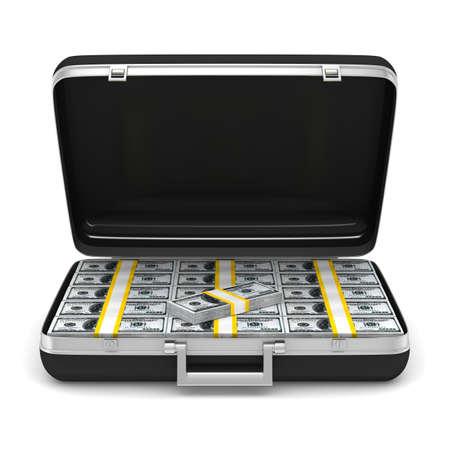 Case with money on white background  isolated  3D image Stock Photo - 12583212
