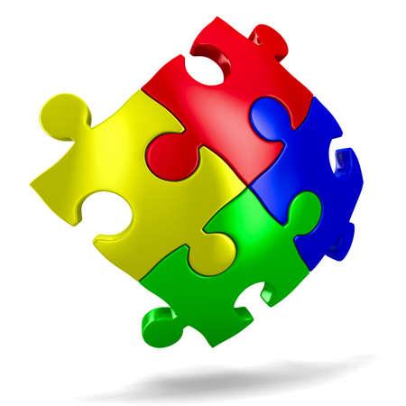Puzzle auf weißem Hintergrund. Isolierte 3D-Bild Standard-Bild - 12583226