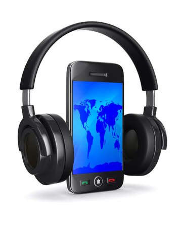 phone and headphone on white background. Isolated 3D image photo