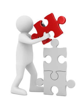 man build puzzle on white. Isolated 3D image Stock fotó - 12583229