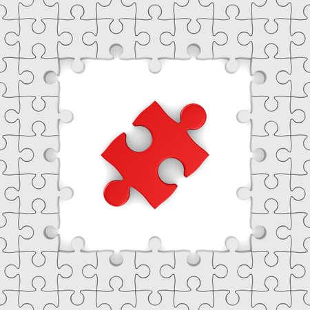 Seamless texture white puzzle. 3D image photo