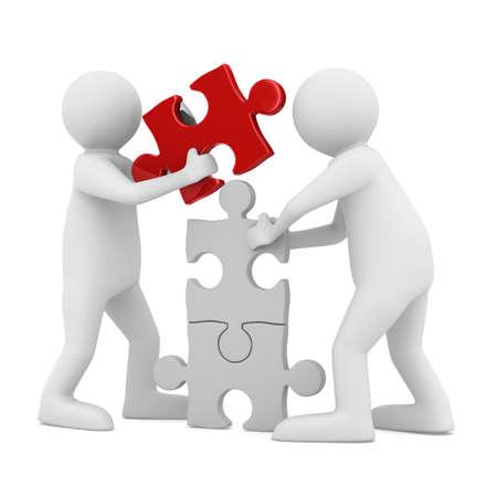 Twee man op te bouwen puzzel op wit. Geà ¯ soleerde 3D beeld Stockfoto - 12583233
